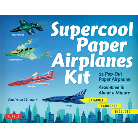 Catapult Kits (Supercool Paper Airplanes Kit: 12 Pop-Out Paper Airplanes Assembled in about a Minute: Kit Includes Instruction Book, Pre-Printed Planes & Catapult Launcher)