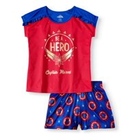 Girls' Captain Marvel 2-Piece Pajama Sleep Set