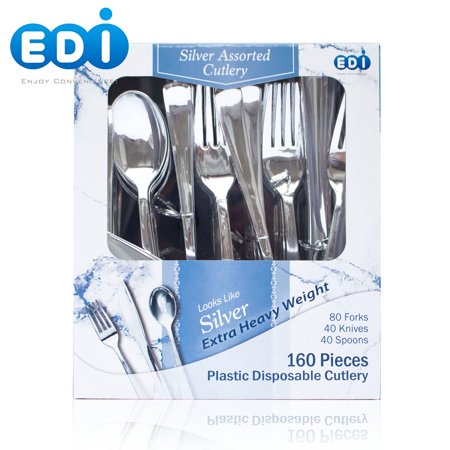 "EDI Heavyweight ""reflection silverware"" Disposable Plastic cutlery 160 Piece"