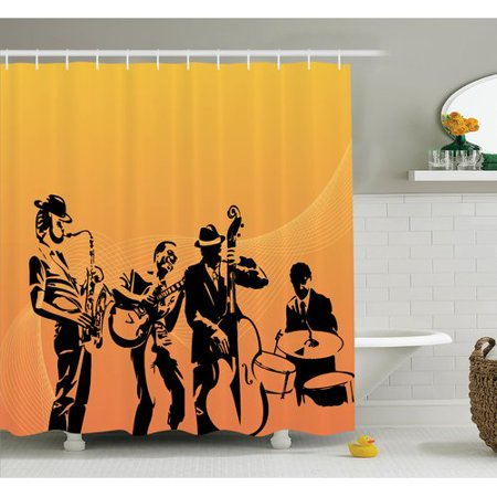 Ambesonne Music Jazz Band Concert Shower Curtain Set