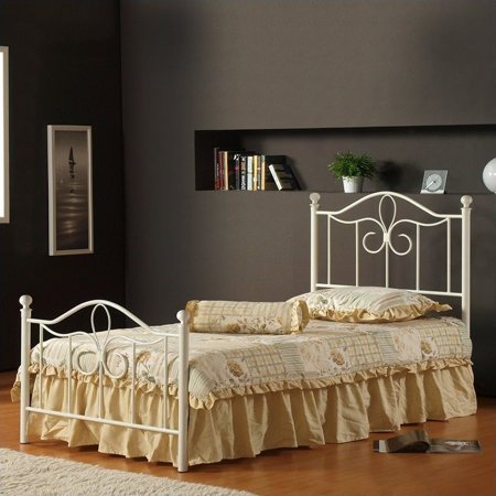 Hillsdale Westfield Metal Poster Bed 5 Piece Bedroom Set in Off White Finish-Twin