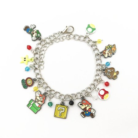 Super Mario World Silver Tone Cartoon Comic Logo Charm Bracelet w/Gift Box by Superheroes Citizen Silver Tone Bracelet