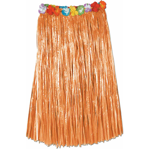 Natural Hula Skirt with Flowers