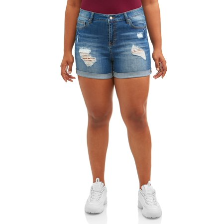 Wax Jean Juniors' Plus Size Destructed High Rise (Short Rise)