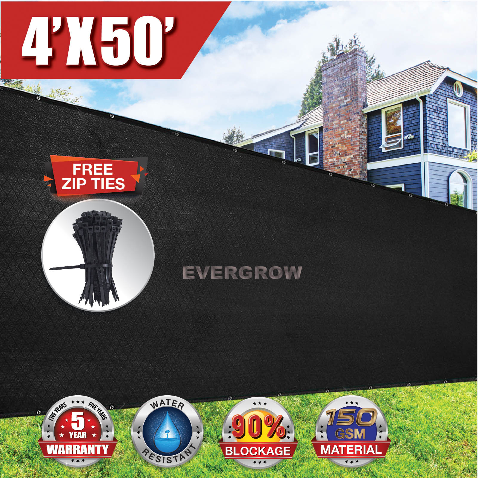 EVERGROW® 4' x 50' Black Privacy fence screen 150 GSM Heavy Duty Windscreen Fence Shade Netting Cover Outdoor Patio 90% UV Blockage FREE Zip Ties 5 Years Warranty (G-FENCE-4X50-BLACK)