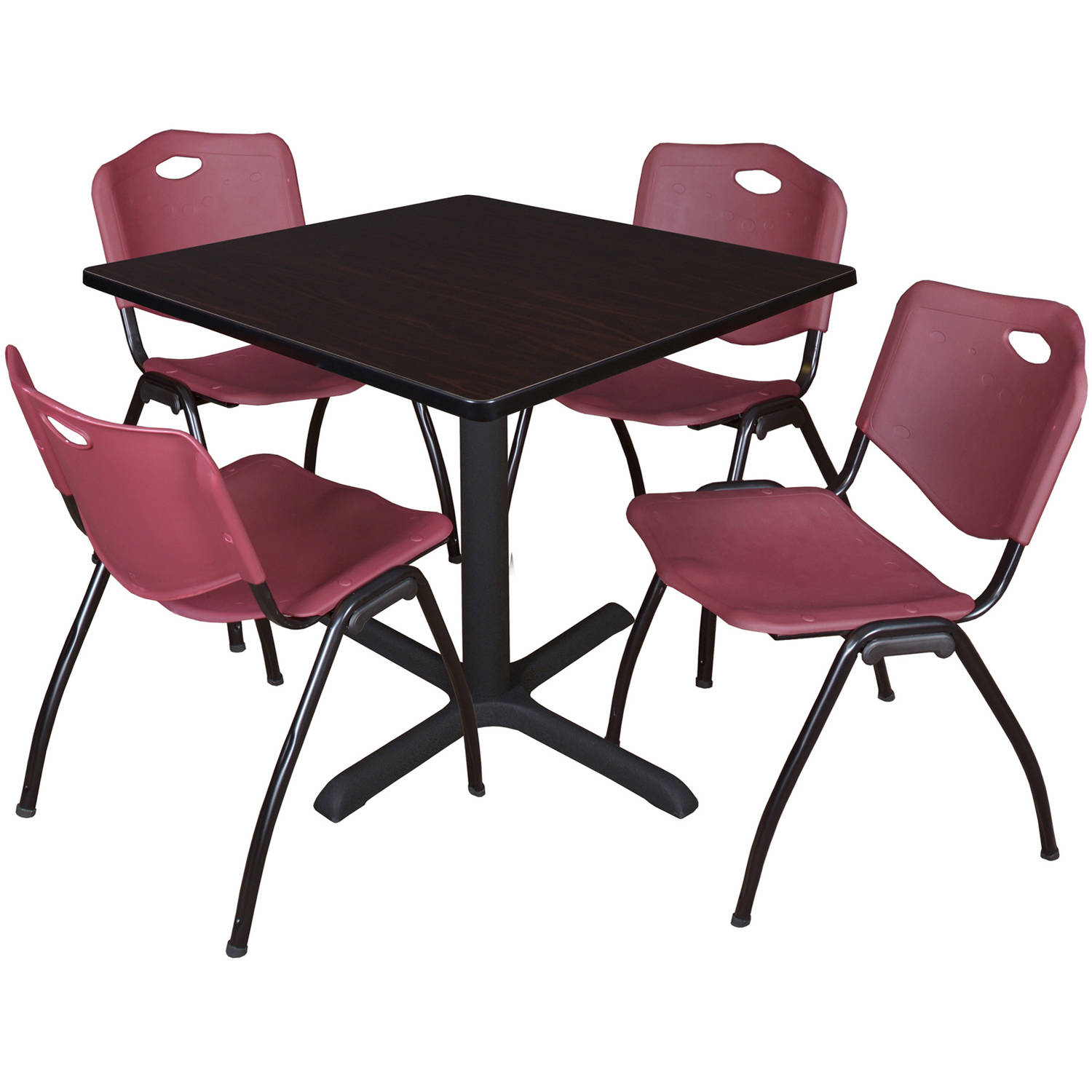 "Cain 42"" Mocha Walnut Square Breakroom Table and 4 'M' Stack Chairs, Multiple Colors"