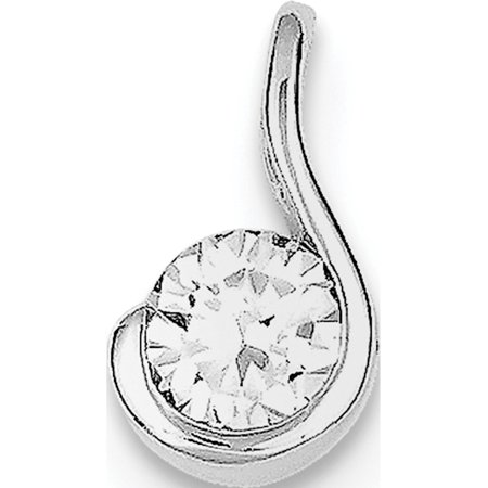 925 Sterling Silver Rhodium Plated CZ (8x14mm) Pendant / Charm - image 2 of 2