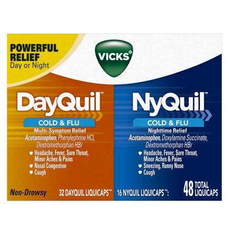 Vicks DayQuil & NyQuil Cough, Cold & Flu Relief Combo, 48 LiquiCaps (32 DayQuil, 16 NyQuil) - Relieves Sore Throat, Fever, and (Best Herbs For Cold And Flu)