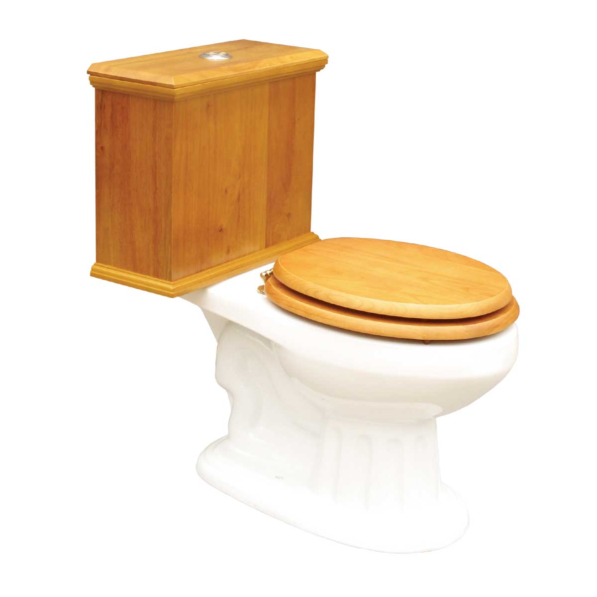 Elongated Toilet with Light Oak Tank and White Bowl | Ren...