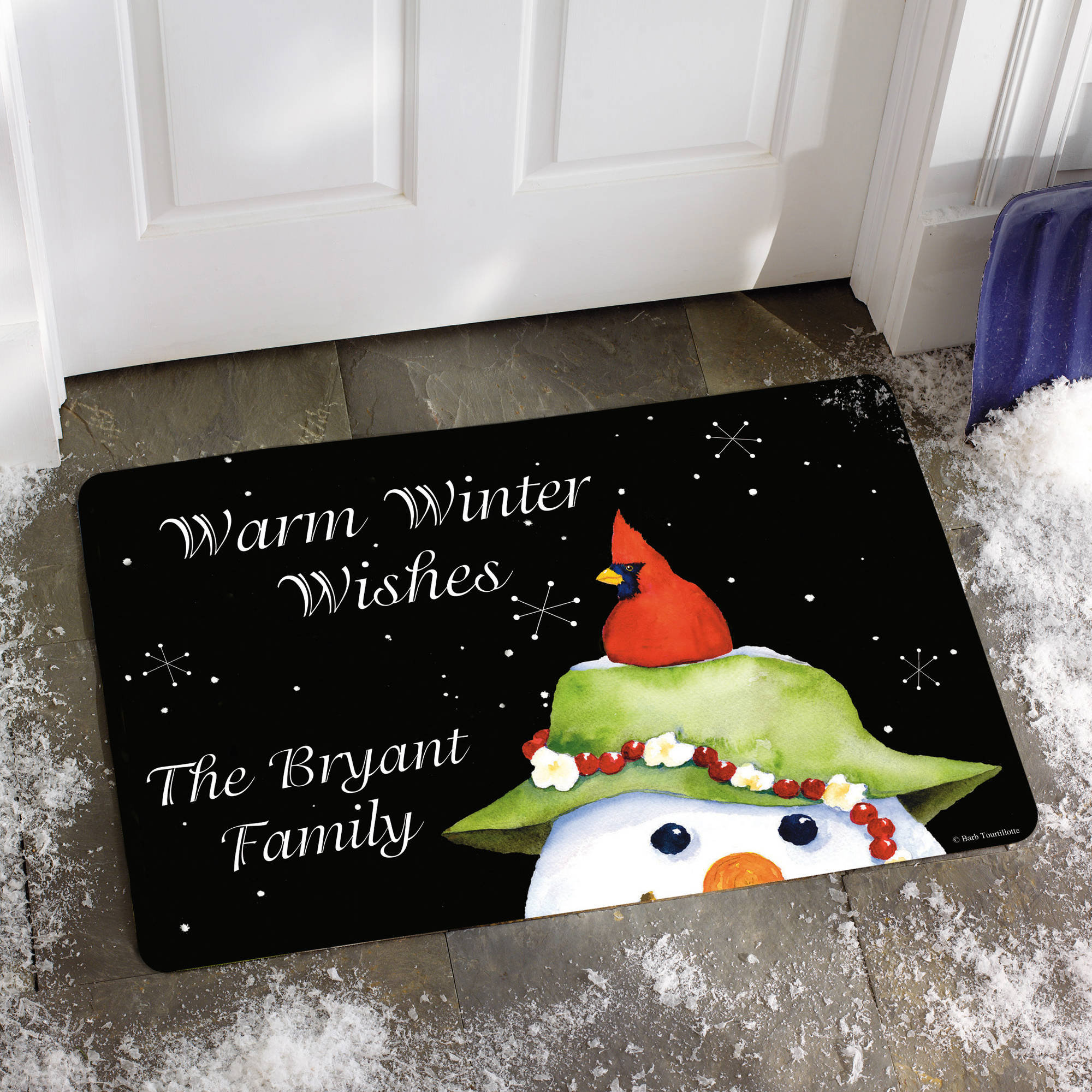 "Personalized ""Warm Winter Wishes"" Doormat, 17"" x 27"""
