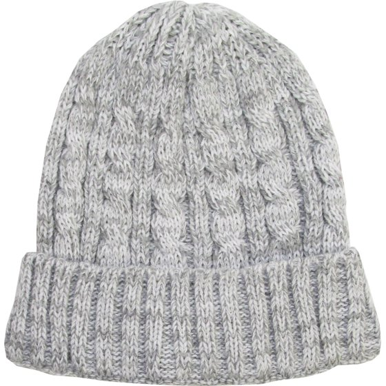 1ecb7e855ee White Heather Cable Knit Beanie Skully Winter Hat Cuffed Warm Ski -  Walmart.com