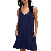 UKAP Women Sleeveless Plain Pocket T-Shirt Dress Casual Loose Summer Beach Sundress V Neck Swing Tank Dress Ladies Sexy Beach Cover Up Dress