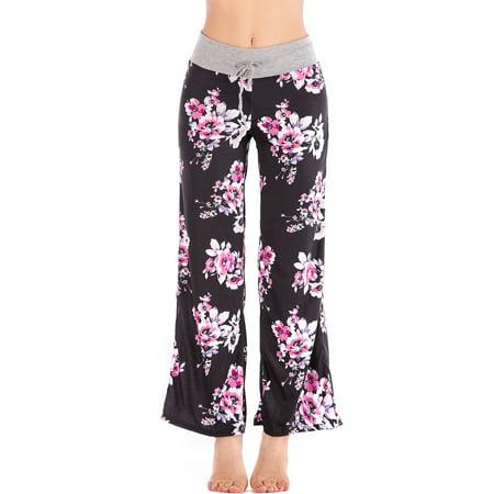 SAYFUT Women Long Pants Wide Leg Yoga Dance Casual Palazzo Trousers Plus Size