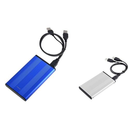 "Insten Blue + Silver 2.5"" inch SATA External HDD Hard Drive Aluminum Enclosure (Free Cable, Carrying case & Screwdriver)"
