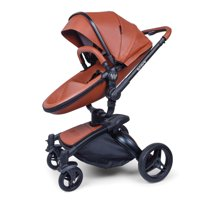 Wonderbuggy Stork Luxury 2 In 1 All Terrain Stroller With Reversible Reclining Seat And Carrycot - White Leatherette