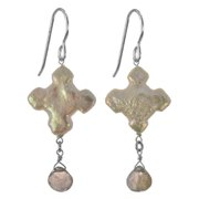 Ashanti Cross Freshwater Pearl Labradorite Faceted Briolette Dangle Sterling Silver Earrings.  Jewels - grey