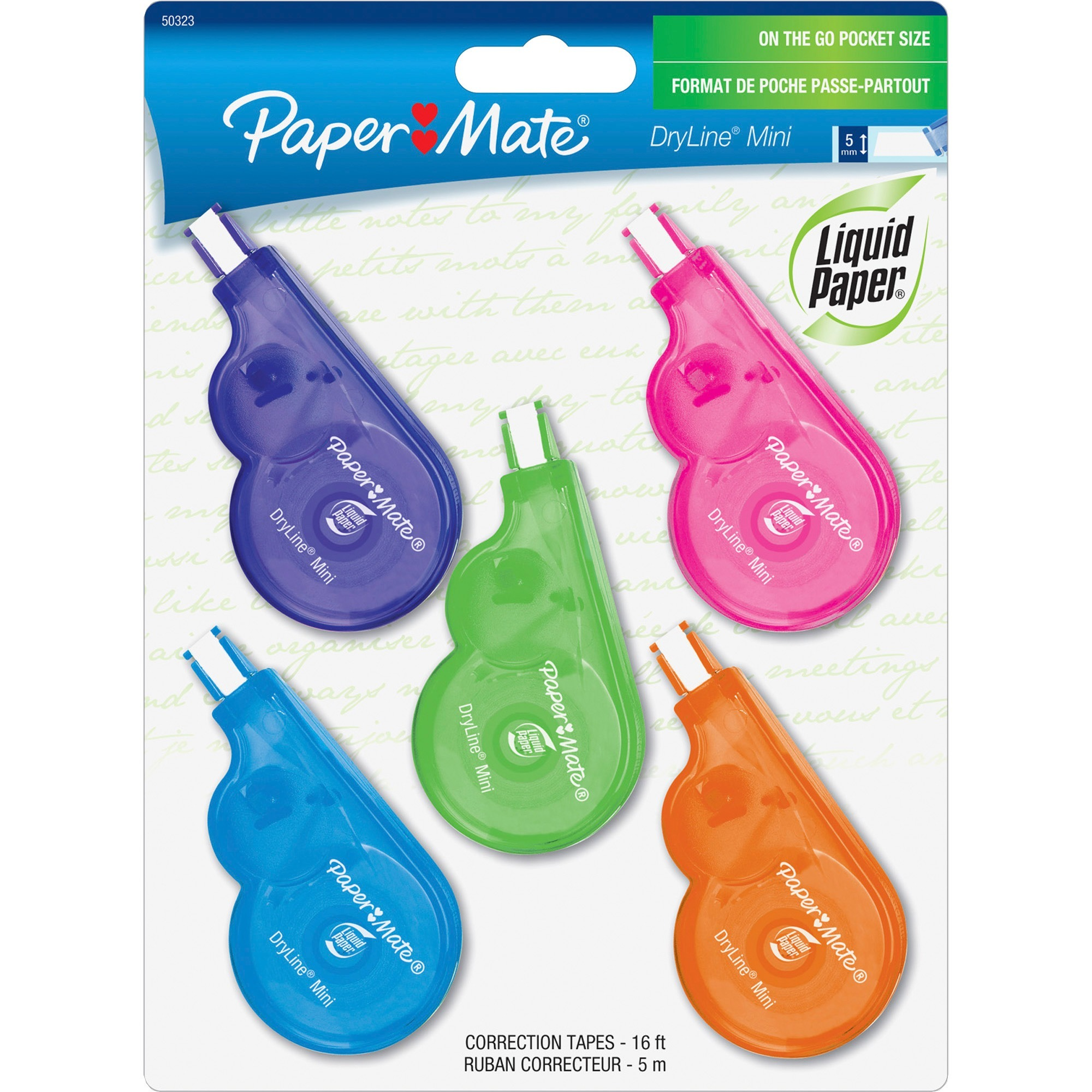Paper Mate, PAP5032315, Dryline Mini Grip Correction Tape, 5 / Pack, Assorted