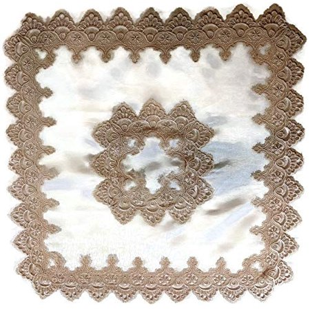 Doily Boutique Tablecloth or Table Topper Square with Gold European Lace and Antique White Fabric Size 34 inches - Table Topper