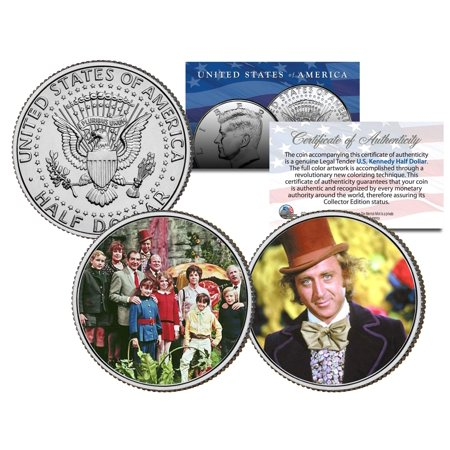 Clad Half Dollars - WILLY WONKA & THE CHOCOLATE FACTORY Movie Colorized JFK Half Dollar 2-Coin Set
