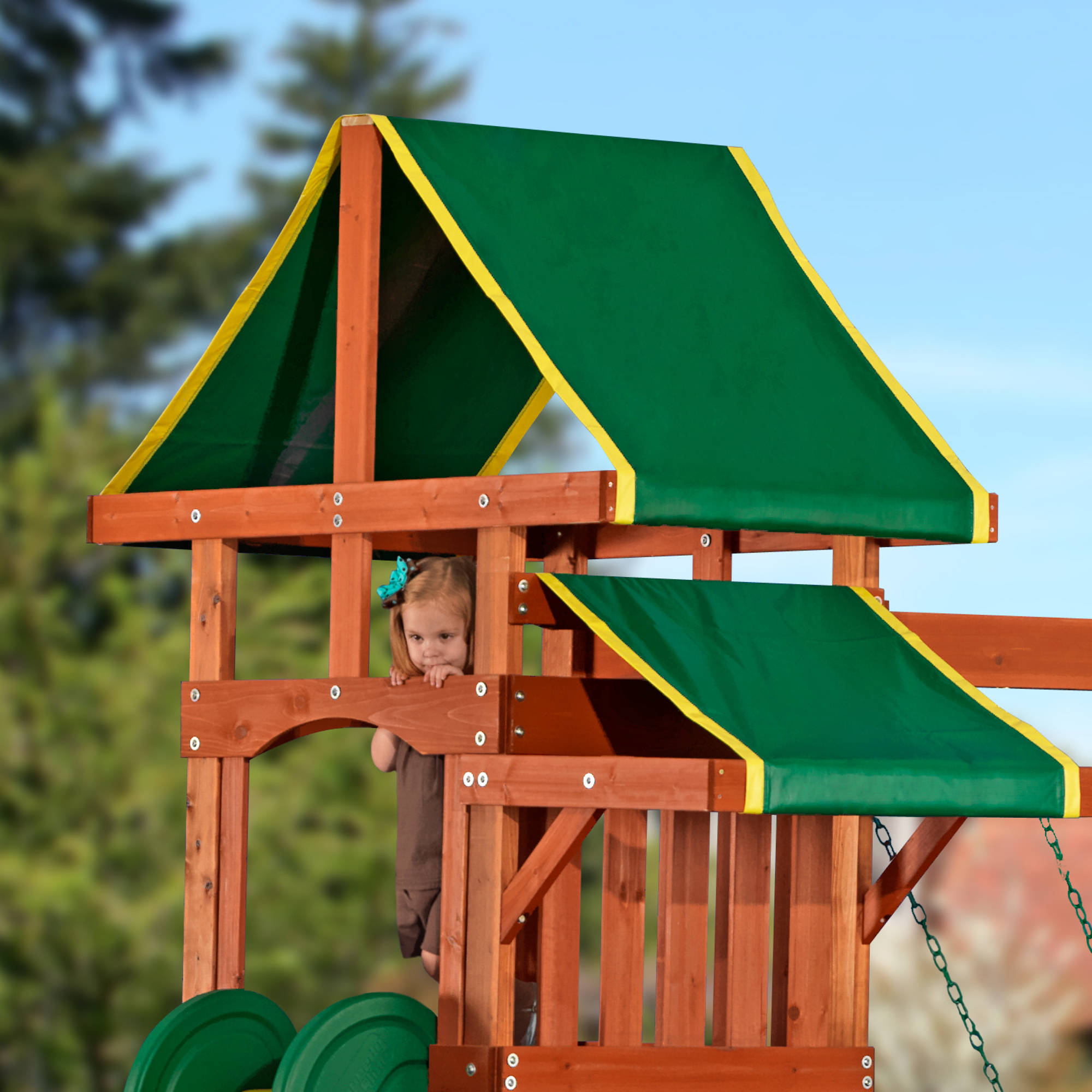 backyard discovery tucson cedar wooden swing set walmart com