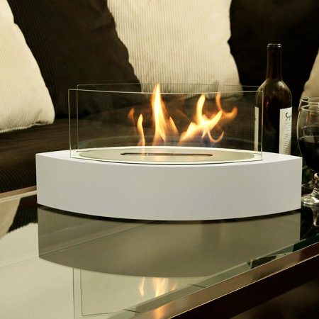 Sunnydaze Barco Tabletop Fireplace Indoor Ventless Bio Ethanol Fire Pit Long Lasting Burn Time White
