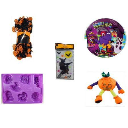 Halloween Fun Gift Bundle [5 Piece] -  Black & Orange Pumpkin Garland 10 ft. - McDonald's Haunted House, RIP, Boo  Plate - Gel Clings Witch, Bats, Stars - - Halloween Vodka Jello