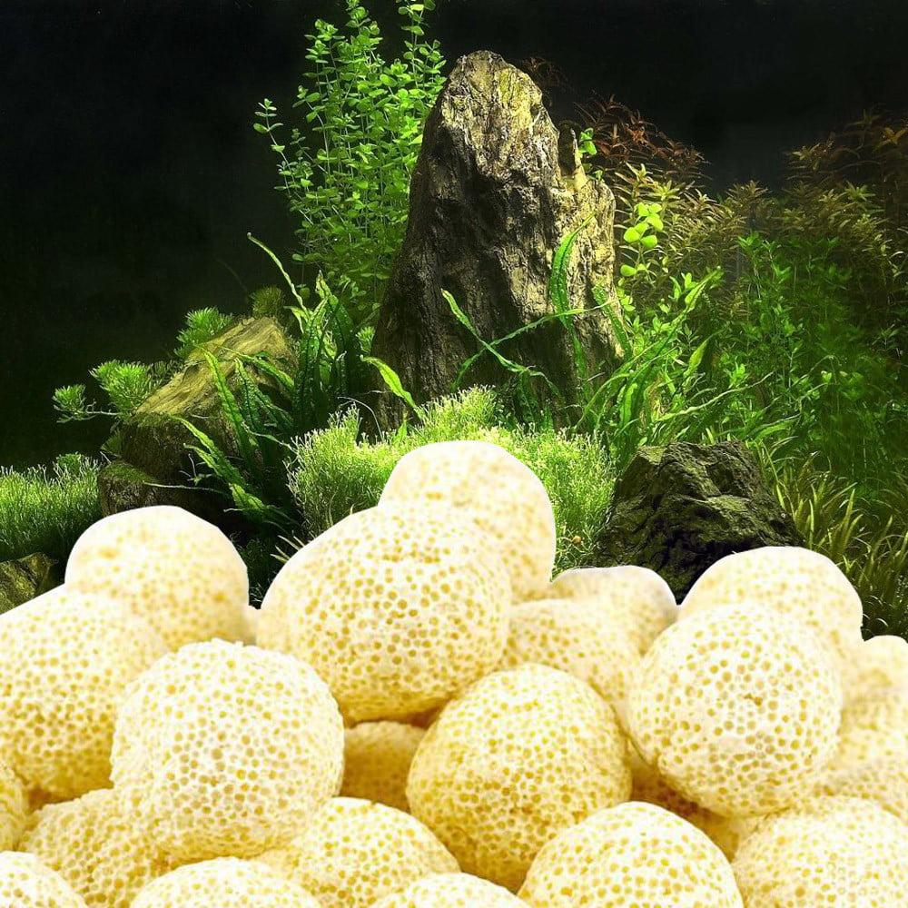 Tuscom 10Pcs Aquarium Porous Ceramic Filter Media Net Bag Biological Ball Fish Tank