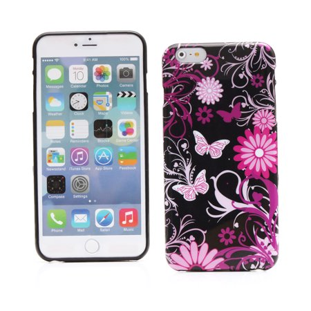 KMO Apple iPhone 6 Plus / 6S Plus Case Cover [Shock Absorbing] [Thin Fit] Soft TPU Gel Skin Protection - Black Pink (Fpt Garden)