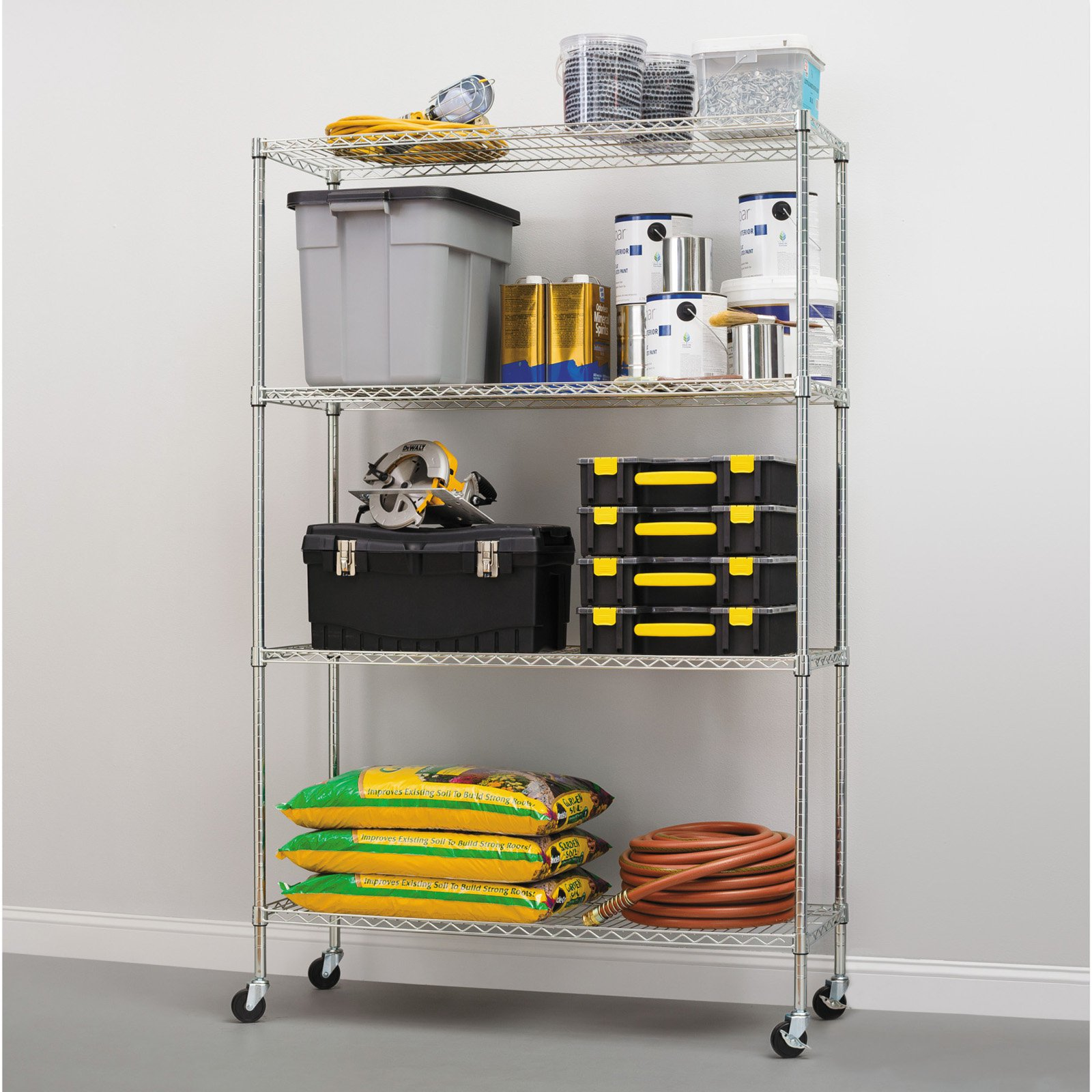 """Alera Complete Wire Shelving Unit with Casters, Four-Shelf, 48"""" x 18"""" x 72"""", Black Anthracite"""