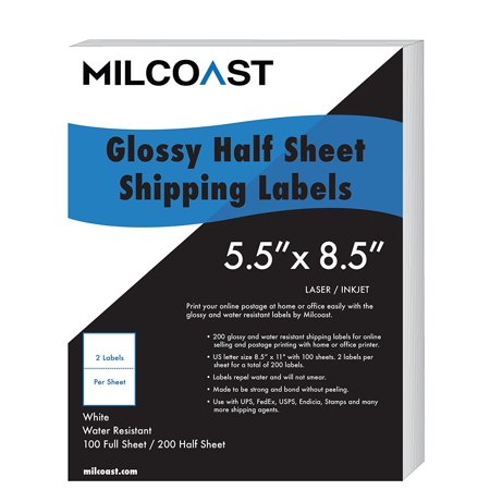 Ups Coupons For Shipping (Milcoast Half Sheet Shipping Labels Glossy Water Resistant for Laser or InkJet Printer 5-1/2