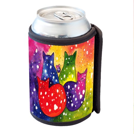 KuzmarK Insulated Drink Can Cooler Hugger - Fiesta Polka-Dot Kitties and Mouse Cat Abstract Art by Denise -