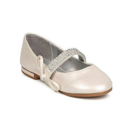 Little Angel FC70 Girl Leatherette Rhinestone Bow Tie Mary Jane Ballerina Flat (Toddler / Kids)