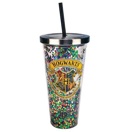 Harry Potter Hogwarts Multi Glitter 20 oz Acrylic Double Walled Tumbler (16 Oz Double Wall Acrylic Tumbler With Straw)