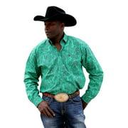 Cinch Western Shirt Mens Long Sleeve Necktape Logo Green MTW1104287