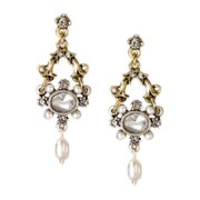 Sweet Romance French Crystal and Pearl Wedding Earrings