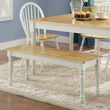Better Homes & Gardens Autumn Lane Farmhouse Solid Wood Dining Bench, White and Natural Finish ()
