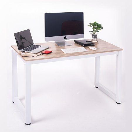 Merax Modern Simple Design Computer Desk Table Workstation for Home &  Office,White and Oak