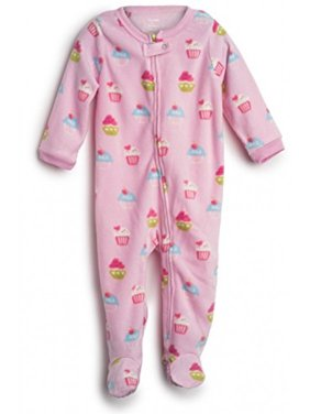 Elowel Baby Girls Footed Cupcake Pajama Sleeper Fleece 3 Toddler