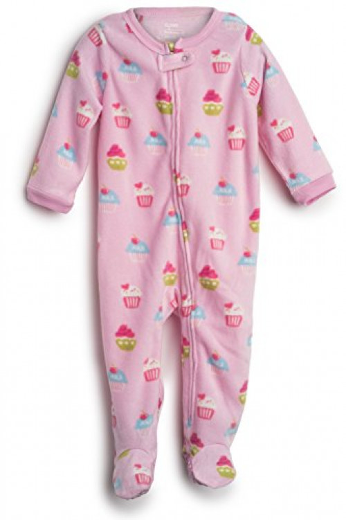 Elowel Baby Girls Footed Cupcake Pajama Sleeper Fleece 3 Toddler