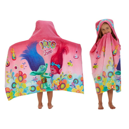 Trolls Kids Bath and Beach Hooded Towel Wrap, 100% Cotton