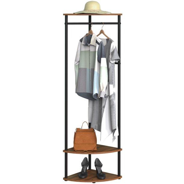 Cheflaud Corner Hall Tree Coat Rack With 3 shelf,4 detachable hooks for coat,caps and bag