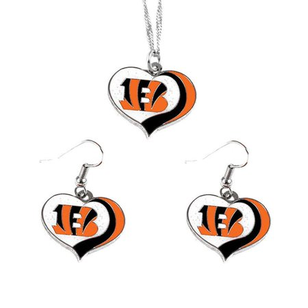 Aminco NFL Cincinncati Bengals Sports Team Logo Glitter Heart Necklace and Earring Set Charm Gift