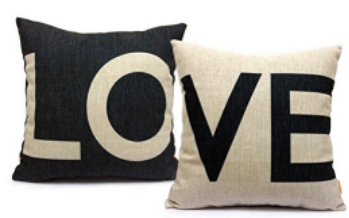 FabricMCC Set of 2 Love Pillow Covers Decorative Couch Throws Cases Cushion Covers 18 x 18... by qidoo LLC