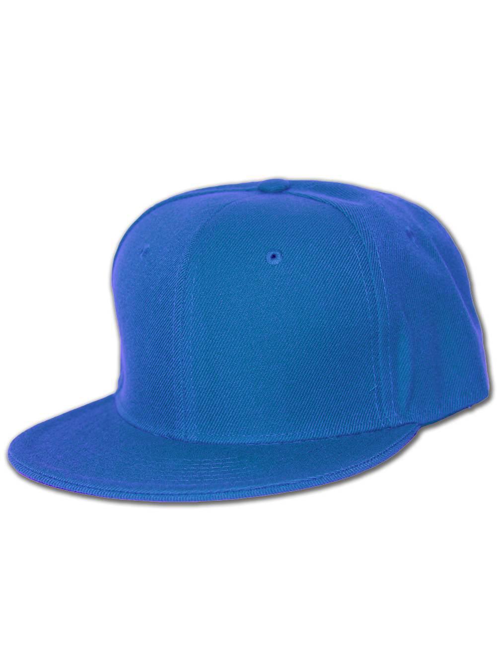 Plain Fitted Flat Bill Hat - Royal Blue 7 e0a1fdb5c8aa