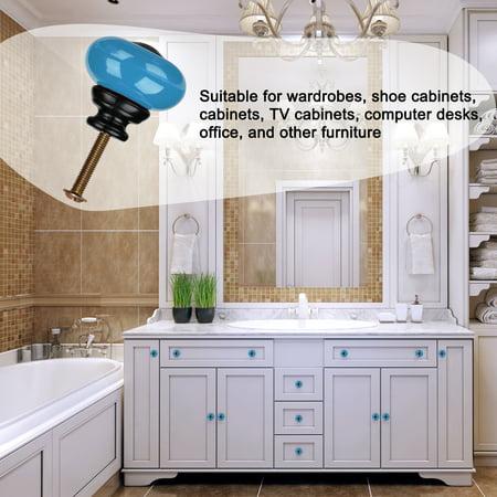 Ceramic Knob Pull Handle Furniture Dresser Wardrobe Cabinet Accessory 8pcs Blue - image 1 of 8