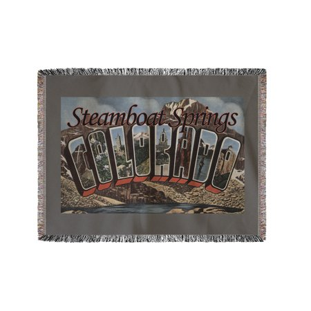 Chenille Colorado Blanket - Steamboat Springs, Colorado - Large Letter Scenes (60x80 Woven Chenille Yarn Blanket)