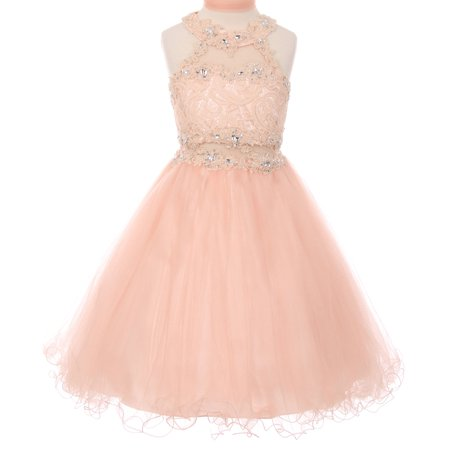 Sparkle Bridesmaid Dress - Little Girls Sparkle Rhinestones Halter Lace Junior Bridesmaid Pageant Flower Girl Dress Blush 4 (C50C40C)