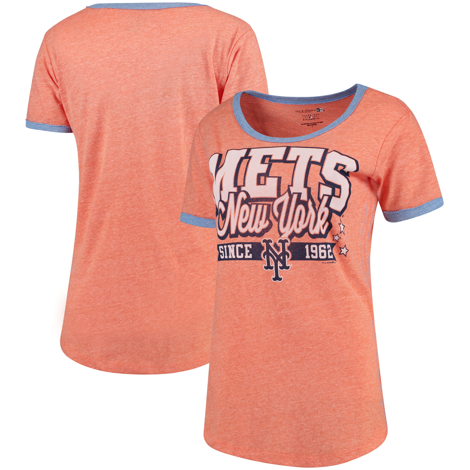 New York Mets 5th & Ocean by New Era Women's Jersey Ringer Tri-Blend T-Shirt - Orange/Royal
