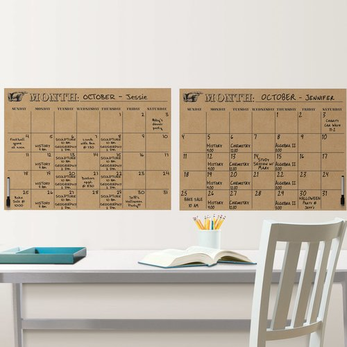 Brewster Home Fashions WallPops Kraft Calendar Whiteboard Wall Decal