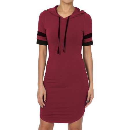 TheMogan Junior's Casual Hooded Short Sleeve Stretch Cotton Jersey Bodycon - Hood Dress